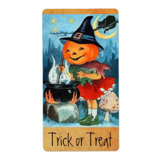 Bruja de la calabaza de Halloween del vintage Etiquetas De Envío