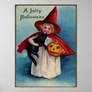 Bruja de la niña con su gato negro póster