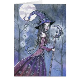 Bruja de la púrpura de la tarjeta de Halloween