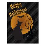Bruja de la silueta del feliz Halloween Postales