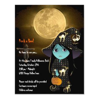 Bruja de Lil en la invitación negra de Halloween