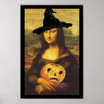 Bruja de Mona Lisa Halloween del renacimiento de Póster