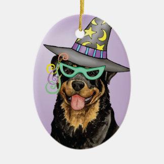Bruja de Rottweiler Adorno Navideño Ovalado De Cerámica