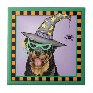 Bruja de Rottweiler Azulejo Cuadrado Pequeño