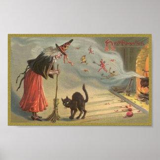 Bruja de Wintage Halloween, gato Póster