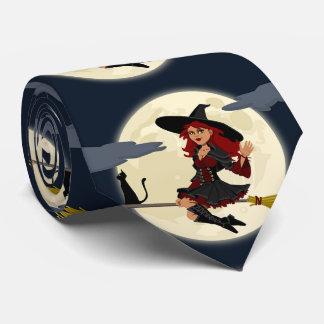 Bruja del bonito de Halloween Corbata Personalizada