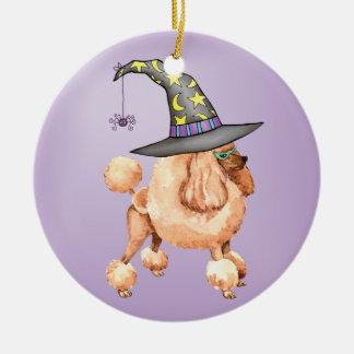 Bruja del caniche de juguete adorno navideño redondo de cerámica
