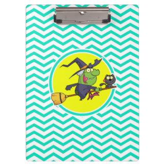 Bruja del dibujo animado Aguamarina Chevron verde