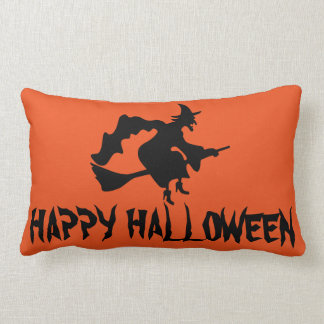 Bruja del feliz Halloween con su tiro anaranjado Cojín