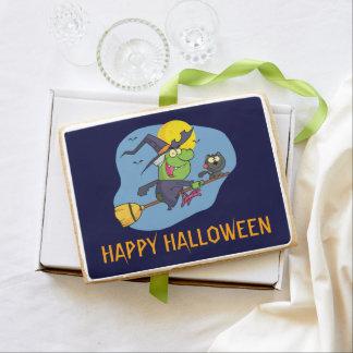 Bruja del feliz Halloween en un palo de escoba