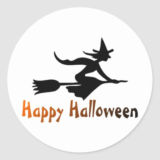 Bruja del feliz Halloween Etiquetas Redondas
