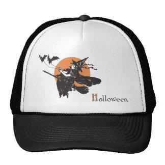 Bruja del niño de Halloween del vintage con los pa Gorras De Camionero