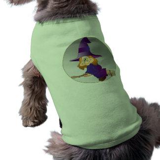 Bruja del palo de escoba camisas de mascota