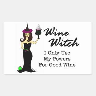 Bruja del vino pegatina rectangular