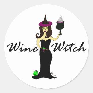 Bruja del vino pegatina redonda