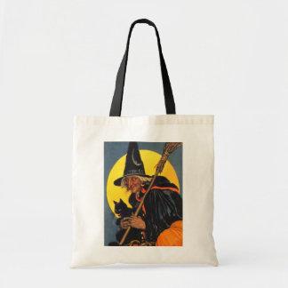 Bruja del vintage con el gato negro bolsa lienzo