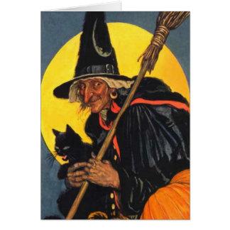 Bruja del vintage con el gato negro tarjeta de felicitación