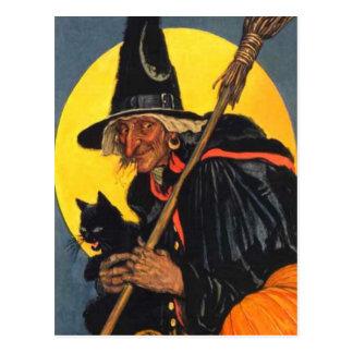 Bruja del vintage con el gato negro tarjetas postales