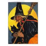 Bruja del vintage con el gato negro tarjetón