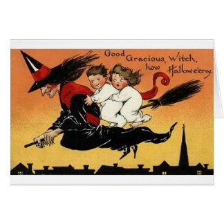Bruja del vintage en la tarjeta de Halloween del p