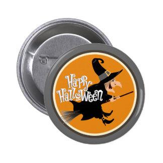 Bruja del vuelo en la escoba Halloween Pin Redondo 5 Cm