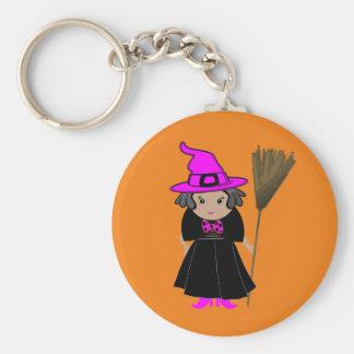Bruja divertida en el gorra rosado - favores de llavero redondo tipo pin