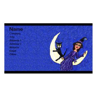 Bruja en azul creciente del gato negro de la luna plantilla de tarjeta de visita