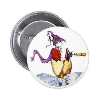 Bruja en botón de la cáscara de huevo pin