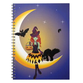 Bruja en el Moon3 Libros De Apuntes