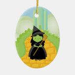 Bruja en el ornamento amarillo del navidad del cam ornamentos de reyes