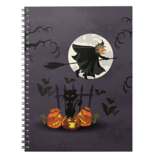 Bruja en el palo de escoba, gato negro, calabazas cuaderno