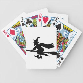 Bruja en escobas cartas de juego