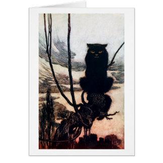 Bruja en forma del gato tarjeta de felicitación