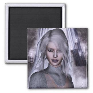 Bruja en la fantasía gótica blanca 3D Imán De Frigorifico
