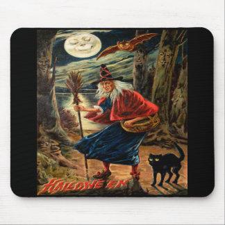 Bruja en la noche de Halloween Alfombrilla De Raton