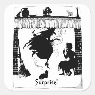Bruja en negro/blanco del pegatina de Halloween de