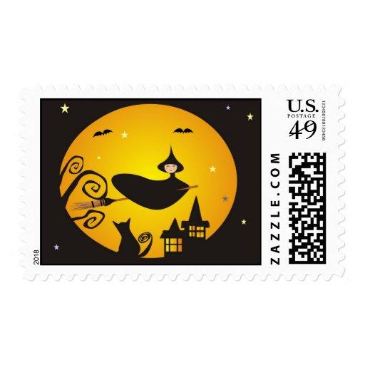 Bruja en vuelo timbres postales