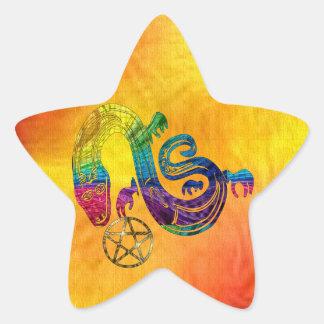 Bruja encantadora de la serpiente pegatina en forma de estrella