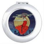 Bruja flotante mágica del cielo nocturno de la lun espejo compacto