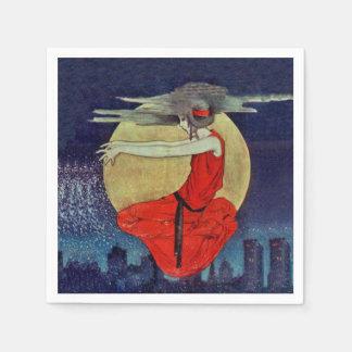 Bruja flotante mágica del cielo nocturno de la servilletas desechables