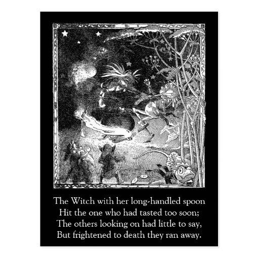 Bruja, gnomos y rana de la huida tarjeta postal
