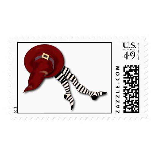 bruja-gorra y media timbre postal