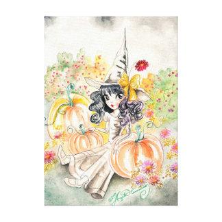 Bruja grande linda de Halloween del ojo en remiend Lona Estirada Galerias