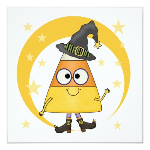 Bruja Halloween de las pastillas de caramelo Invitación 13,3 Cm X 13,3cm