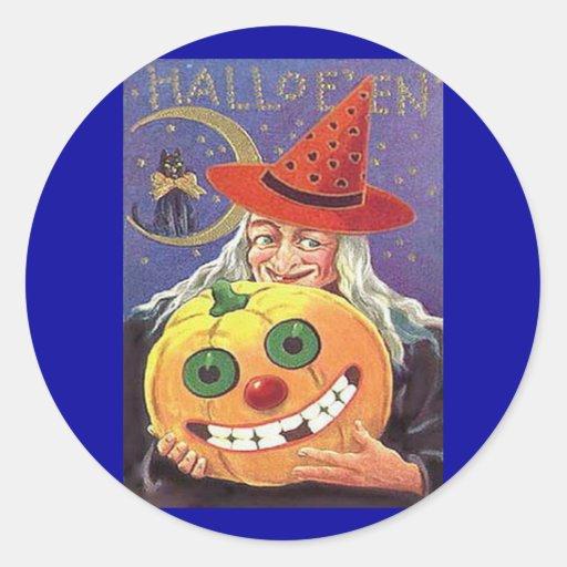 Bruja Halloween del vintage Pegatina Redonda