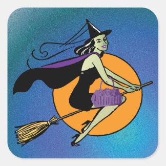 Bruja Halloween Pegatinas Cuadradas