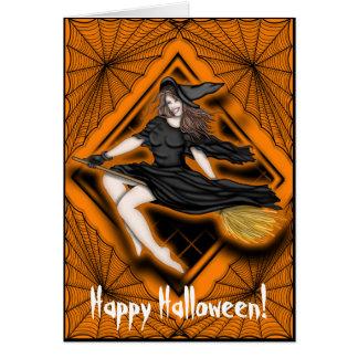 Bruja hermosa de Halloween Tarjetón