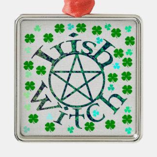 Bruja irlandesa adorno navideño cuadrado de metal