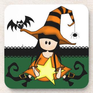 Bruja linda de Halloween Posavaso