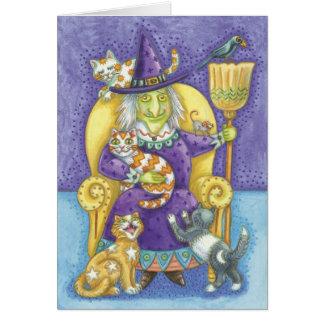 Bruja linda de Halloween, señora loca del gato Tarjeta De Felicitación